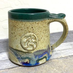 Studio Pottery Mug Running Man Signed 16oz